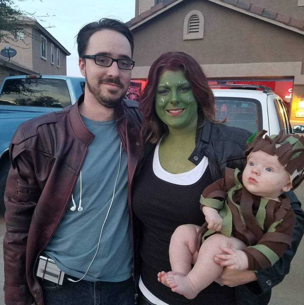 Star Lord, Gamora, and Baby Groot