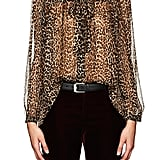 Shop Karlie's Blouse: Saint Laurent Leopard-Print Silk Oversize Blouse