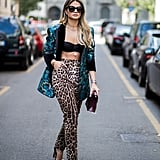 Style a Psychedelic Blazer With Animal-Print Trousers