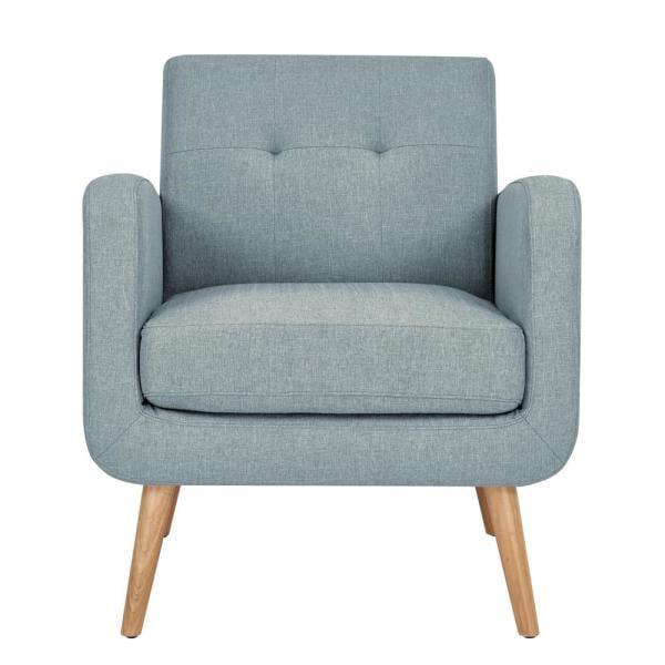 Handy Living Kingston Light Blue Textured Linen Mid Century Modern Arm Chair