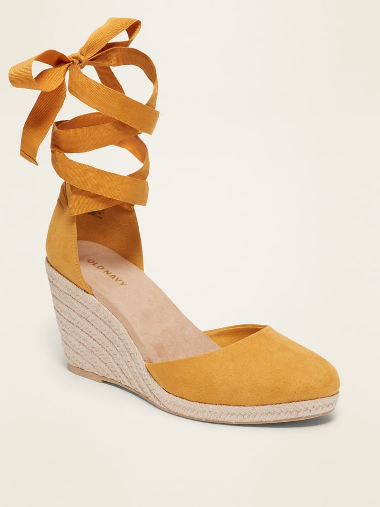 Old Navy Faux Suede Strappy Lace Up Espadrille Wedge Shoes