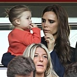 Victoria Beckham and Harper watched dad, David Beckham, make his exit in the final Paris Saint-Germain home game in Paris on Sunday.