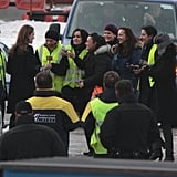 Angelina Jolie talked with some airport workers.