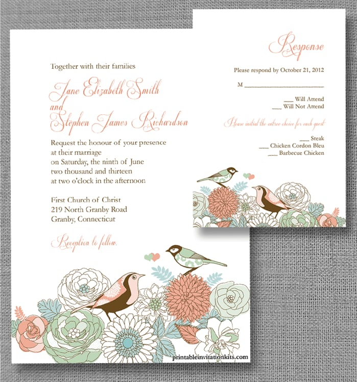 Download the vintage birds wedding invite printable here.