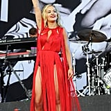 Rita Ora performed on stage at the Glastonbury Festival.