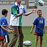 Prince William played a game of rugby with a group of boys in New Zealand back in January 2010.