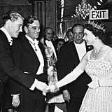 Queen Elizabeth II shook hands with Peter O'Toole on the red carpet at the Lawrence of Arabia premiere in 1962.