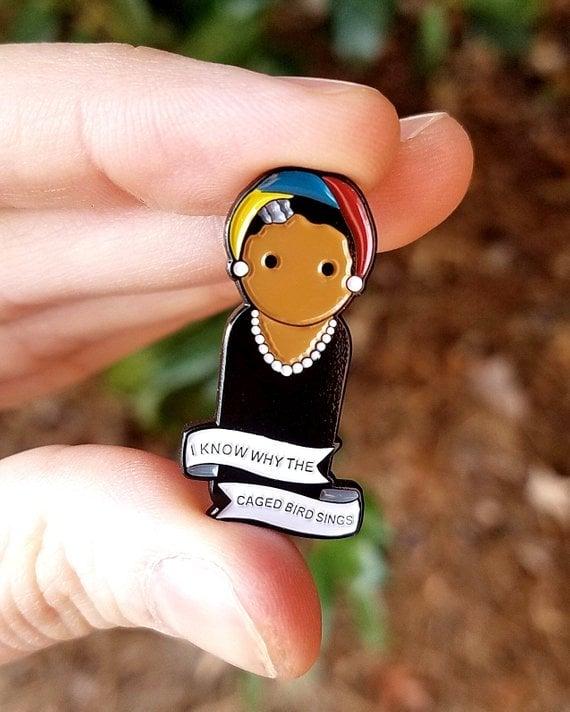 f3eb3a942fb Maya Angelou Peg Doll Enamel Pin | Famous Women in History Gifts ...