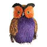 Purple and Orange Bristley Sisal Owl Halloween Tabletop Decoration