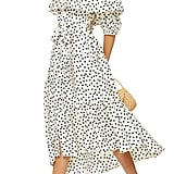 Topshop Bardot Spot Print Asymmetrical Off the Shoulder Dress