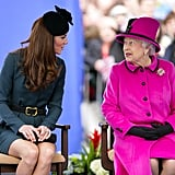 Kate chatted with her grandmother-in-law at a fashion show in Leicester.