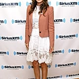 Rachel Bilson arrived at the station in a white dress and blush jacket.