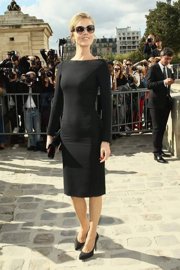 Eva Herzigova paired her black dress with some shades.