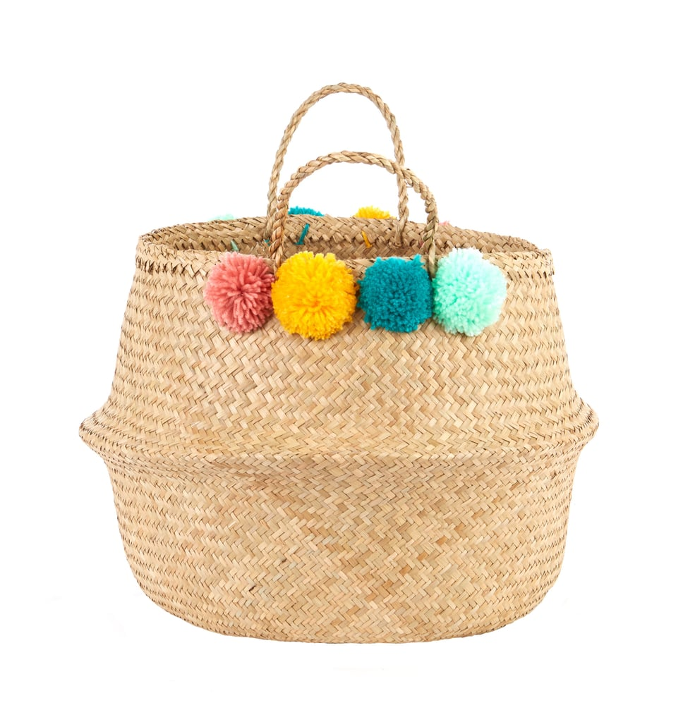 Wicker Basket With Pom Poms : Best laundry baskets australia popsugar home