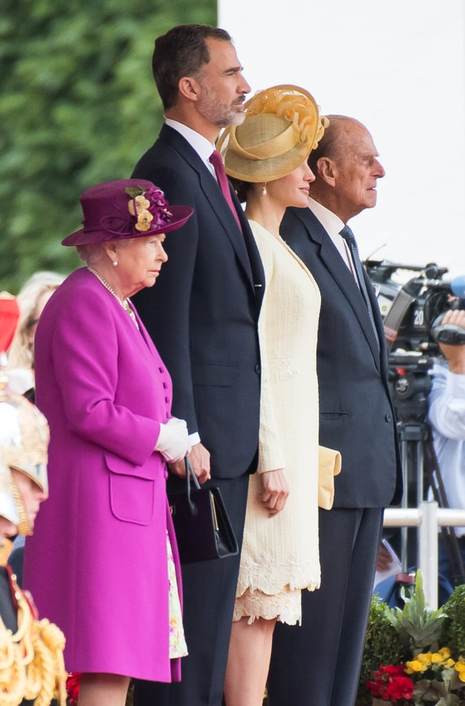 The queen's stature is clear when she stands next to King Felipe VI and Queen Letizia of Spain.