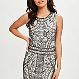 Miss Guided Silver Sequin Beaded Mini Dress