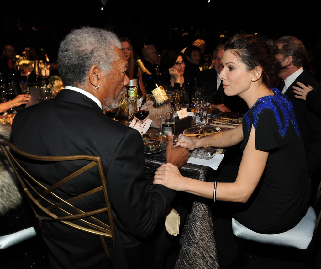 Morgan Freeman and Sandra Bullock found themselves seated side by side during the January 2010 SAG Awards in LA.