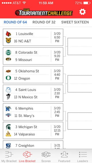 Check how your ESPN bracket is doing.