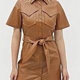 Moon River Faux Leather Mini Dress
