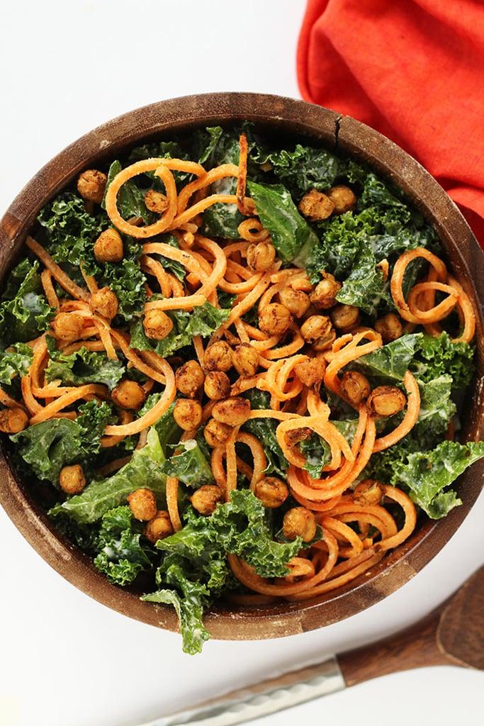 Vegan Kale and Sweet Potato Noodle Caesar Salad