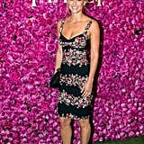 A floral bustier dress gave Bar Refaeli that perfect retro spin at a Piaget event in Paris.