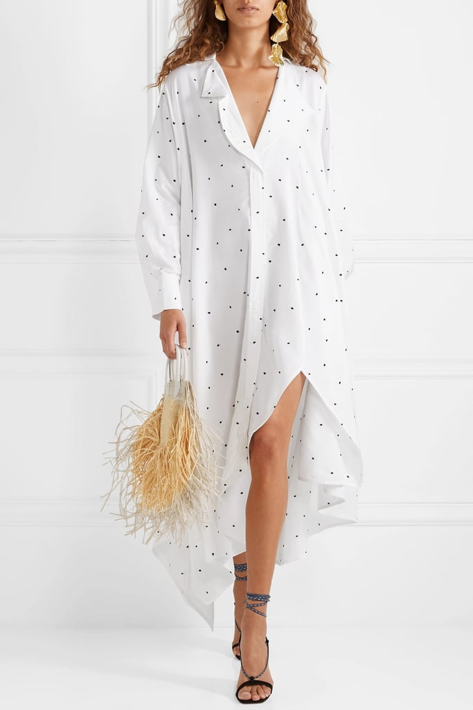 Jacquemus Oversized Asymmetric Embroidered Voile Dress
