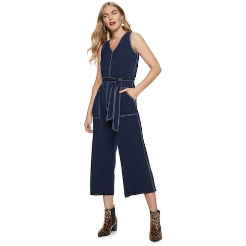 Nine West Contrast-Stitch Sleeveless Jumpsuit