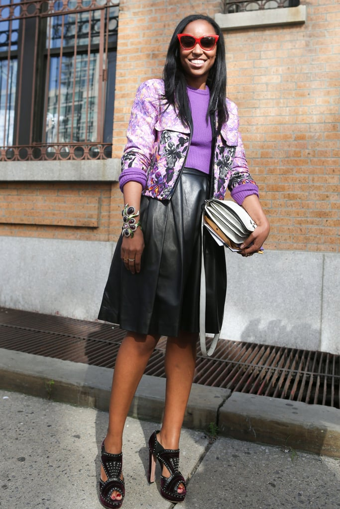 A black leather midi and shades of violet gave this feminine look a trendier spin.