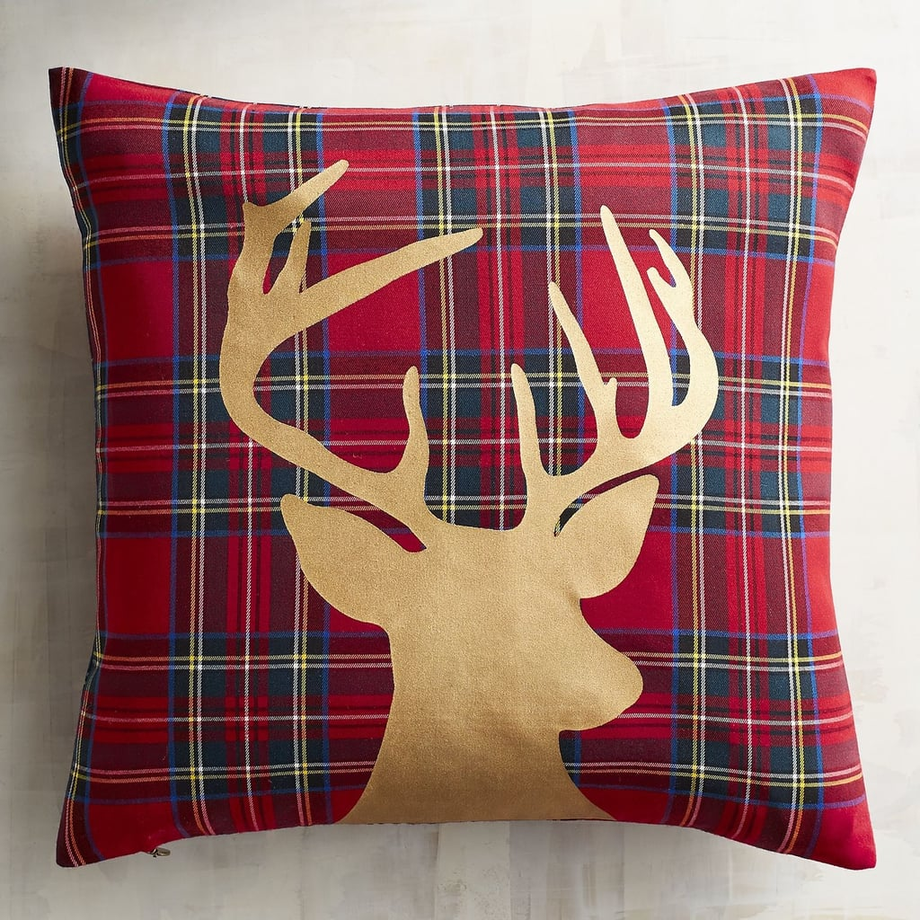 Plaid Gold Foil Reindeer Pillow ($25)