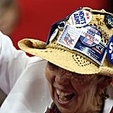 This female attendee covered her hat in Romney pins.