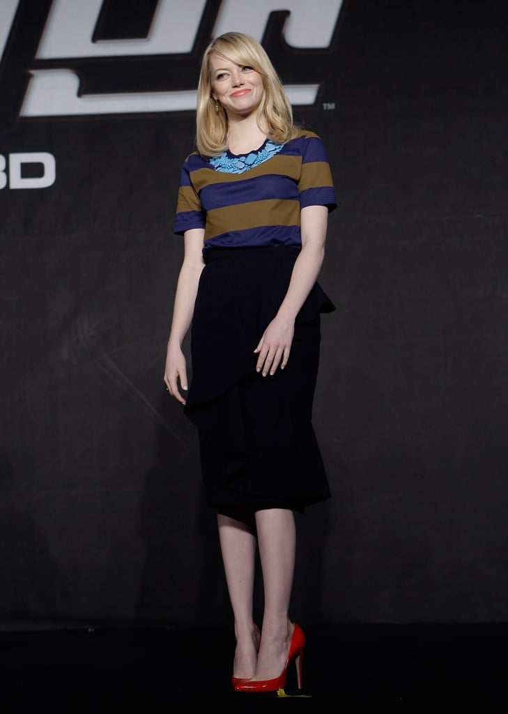 Emma Stone donned an outfit from Burberry Prorsum at a press conference for The Amazing Spider-Man in Seoul.