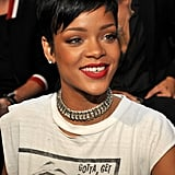 Rihanna paired her tiny grills with red lipstick and a mullet hairstyle.