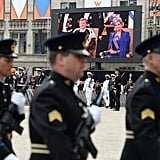 The ceremony was shown on a screen outside for the public.