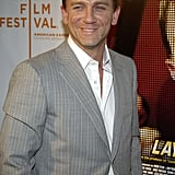 Daniel Craig wore a gray pinstripe coat to the Layer Cake premiere in April 2005.