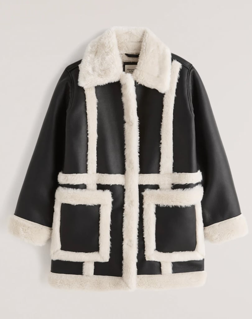 Abercrombie & Fitch Sherpa-Lined Vegan Leather Shearling Coat