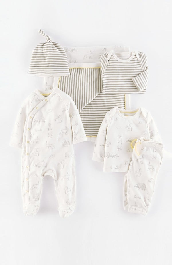 Mini Boden Six-Piece Woodland/Grey Stripe Set