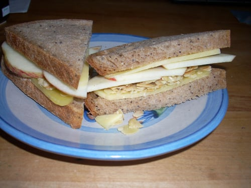 Cheddar, Apple & Almond on Whole Wheat