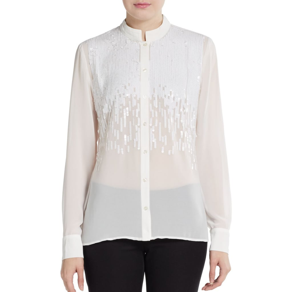 Carmen Carmen Marc Valvo Sequined Mandarin Collar Blouse