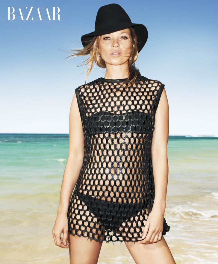 Kate Moss wore a black bikini for Harper's Bazaar.
