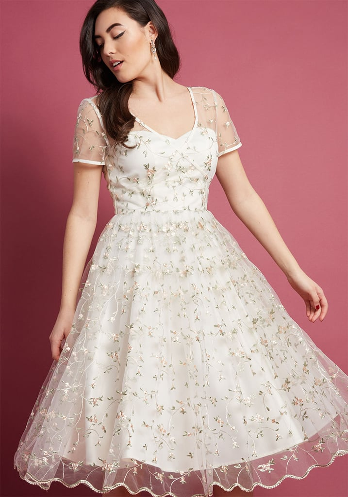 Collectif x MC Rosette Radiance A-Line Dress in Ivory