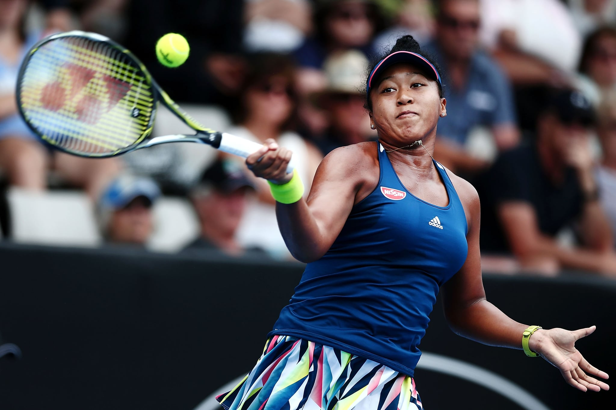 AUCKLAND, NEW ZEALAND - JANUARY 02:  Naomi Osaka of Japan plays a forehand in her match against Annika Beck of Germany on day one of the ASB Classic on January 2, 2017 in Auckland, New Zealand.  (Photo by Anthony Au-Yeung/Getty Images)