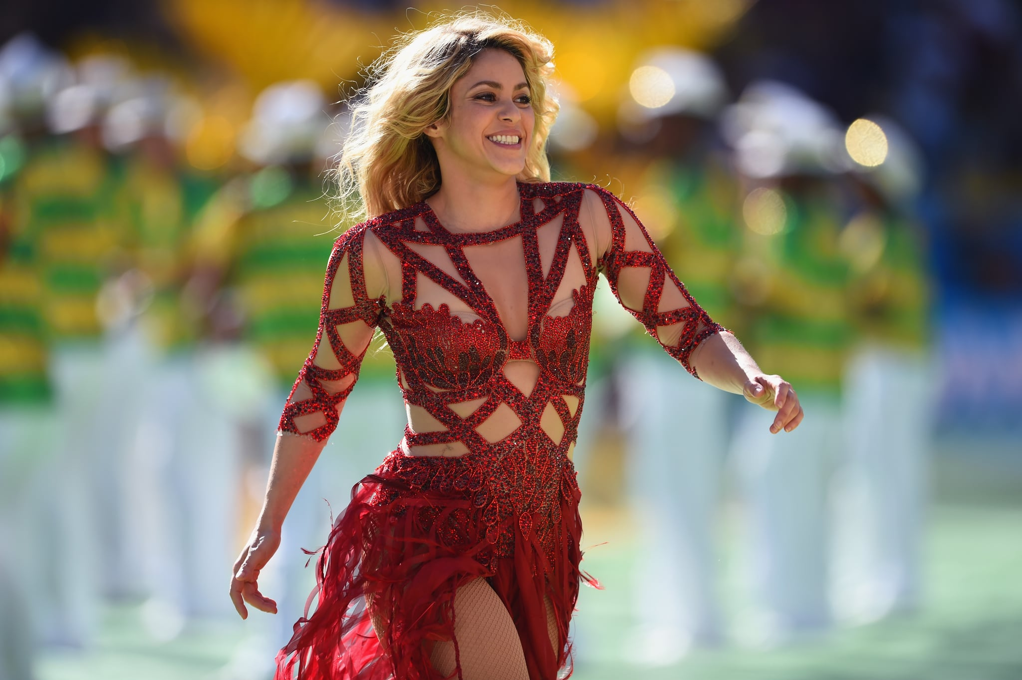 RIO DE JANEIRO, BRAZIL - JULY 13:  Singer Shakira performs during the closing ceremony prior to the 2014 FIFA World Cup Brazil Final match between Germany and Argentina at Maracana on July 13, 2014 in Rio de Janeiro, Brazil.  (Photo by Matthias Hangst/Getty Images)