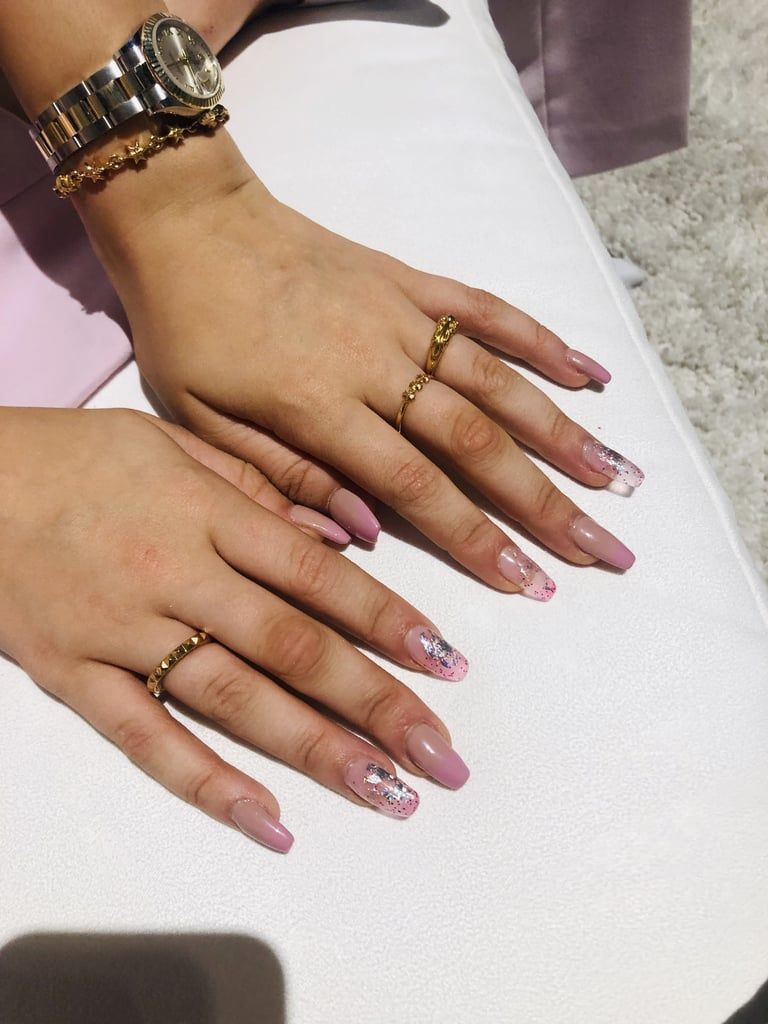 Millie Bobby Brown's Gradient Negative Space Nail Art