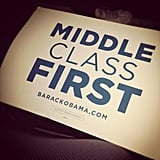 "These ""Middle Class First"" signs were everywhere inside the DNC."