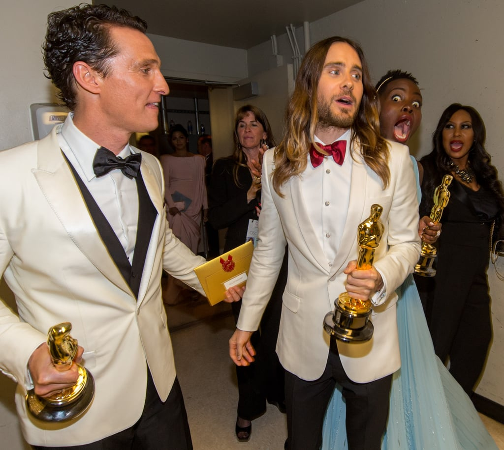 There were gold statues all around when Lupita Nyong'o photobombed Jared Leto while Matthew McConaughey looked on backstage at the Oscars.