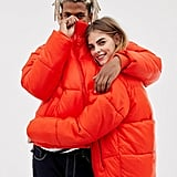 Collusion Unisex Puffer Jacket in Red