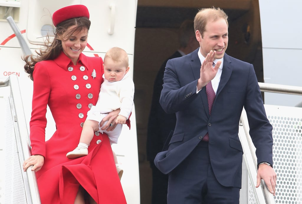 The queen gave William and George special permission to fly together.  The monarch must give her approval for two heirs to travel by air together, an event that's typically avoided.  And they flew commercial.  Will, Kate, and George traveled the 20-plus hours from London to Australia by a scheduled commercial flight — first class was reserved for them and their entourage, of course. Could you imagine being on the flight? For flights in and around Australia and New Zealand, they are using the royal air force.  So when Kate stepped off that flight in red, she was not freshening up in a commercial airline bathroom, since that flight was chartered by the air force.