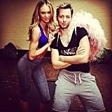 Candice Swanepoel posed with Derek Blasberg during a workout.  Source: Instagram User AngelCandice