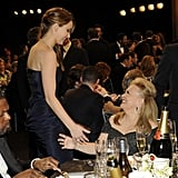 Jennifer Lawrence and her Silver Linings Playbook costar Jacki Weaver talked in the audience.