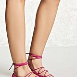 Forever 21 Faux Suede Lace-Up Flats